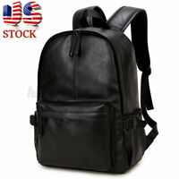 Men Women Leather Backpack Laptop Shoulder School Bag Satchel Handbag Rucksack