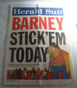 The Simpsons Banner Poster  - Herald Sun Stick Ems Figurines 2009 Barney