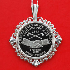 US 2004 Jefferson Nickel Solid 925 Sterling Silver Necklace NEW - Handshake