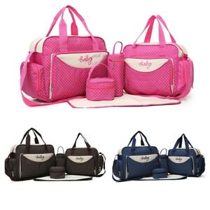 5 Pcs Baby Diaper Bag Yummy Mummy Maternity Nappy Bags Sets Travel Bottle Holder