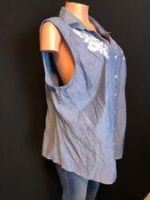 c85d6cedfd5 Karen Scott Woman Plus 3X Denim Embroidered Blouse Sleeveless Blue Casual  Top dd