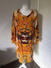Gorgeous Diane Von Furstenberg DVF Yellow Orange Silk Dress Size 6 UK 10