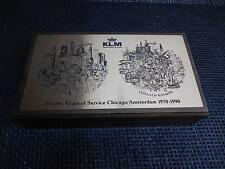 Old Vtg KLM Royal Dutch AIRLINES Chicago/Amsterdam Wood SOUVENIR BOX Kurt Mager