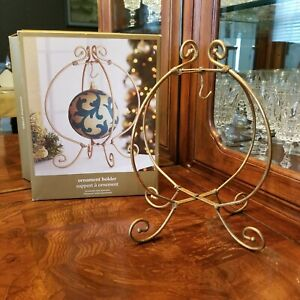 """9 1/2"""" Tall Gold Flocked Metal Ornament Holder Holds Up To  4"""" Diameter Ornament"""
