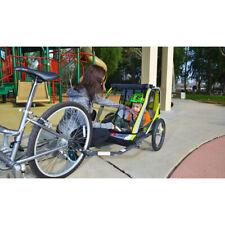 Green 2-Child Bike Trailer Lightweight Cart Outdoor Kid Stroller Racing Sports