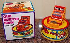 """Vintage Wind-Up Mechanical """"Running Mouse"""" Cash Register Bank - ORIGINAL BOX"""