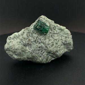 61g Emerald in Schist , Swat Valley Collector Mineral Natural Gemstone *Video*