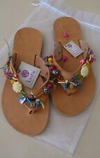 Ancient Greek Natural Leather Sandals Handmade in Crete Colourful Flip Flops