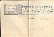 GRENADE GRANADA COURRIER GRAN RESTAURANT LOS LEONES JUAN SALVADOR CASTILLO 1931