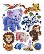 3D Wandsticker Zootiere Elefant Löwe Affe Wandtattoo Kinder Sticker Aufkleber