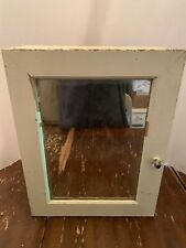 Vintage White Wooden Mirrored Medicine Cabinet With Glass Knob Handle
