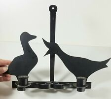 Retro Ducks Silhouette Black Wrought Iron Hanging Double Candle Holder 13.5x10.2