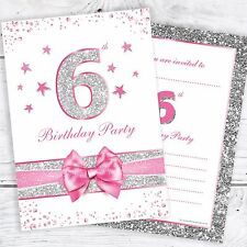 6th Birthday Party Invites - Pink with photo effect glitter - A6 Size (Pack 10)