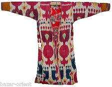 Antichi Uzbek Afghan IKAT Donne Cappotto Antique WOMEN 'S Silk Coat chyrpy no:5
