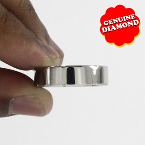 6 MM Real Diamonds Accents Titanium Wedding Men's Band Ring Free & Fast Shipping