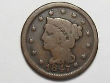 1847 US Braided Hair Large Cent Coin (5% Off-Center).  #45