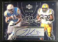 2003 Upper Deck Pros and Prospects #162 Toefield RC/LaDainian Tomlinson AU /500
