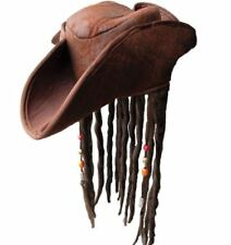 Jack Sparrow Style Pirate Hat with Brown Dreadlocks Fancy Dress Headwear