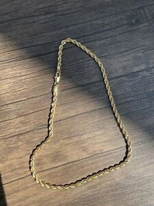 """14k Gold Stamped 20"""" 5mm Men's Rope Chain Necklace Ice"""