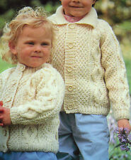 "KNITTING PATTERN ARAN TODDLERS GIRLS OR BOYS CARDIGAN JACKET 18 -24"" 45 - 60cm"