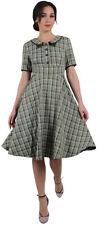 Voodoo Vixen KAYLEE Vintage PLAID Karo Kurzarm 50s SWING DRESS Kleid Rockabilly