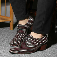 Men's Oxfords Lace Up Plaid Pointed Toe Wedding Formal Dress Shoes British Style