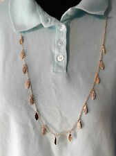 Vera Bradley Pave Leaf Necklace, Goldtone Long Chain leaves Necklace New w Tags