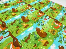 Stoff BW Jersey Märchenwald Bären Füchse Hirsche Eulen Hasen Kinderstoff bunt
