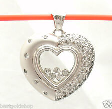 1.12tcw Happy Heart Floating Diamond Pendant  Real Solid 14K White Gold 14.2gr