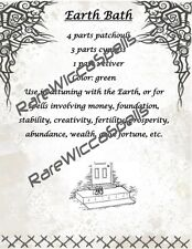 Magick Recipe for Element Earth Bath 1 parch pg for Wicca Spell Book of Shadows