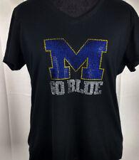 Women's Michigan Wolverines  Rhinestone Football V-neck T-Shirt Tee Bling Lady