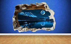 Moon Over Lake Wall Sticker Smashed Wall Full Colour art decal bedroom nature