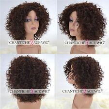 Women's Short Bob Curly Wig Synthetic Hair Machine Made Full Wig Heat Good UK #4
