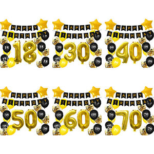 Geburtstag Deko Set - Happy Birthday Girlande + Zahlen Luftballons uvm -wählbar
