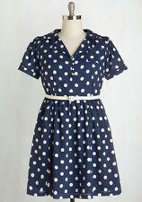 Modcloth Myrtlewood Navy Blue Polka Dot Address the Room Dress Plus Size 3X