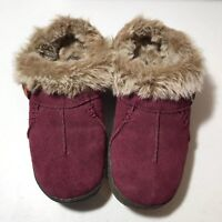 Clarks Womens Faux Fur Lined Clogs Mules Size 7M Suede Red Slippers EUC