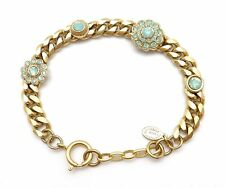 CATHERINE POPESCO Floral Pacific Opal Swarovski Gold Curb Chain Bracelet Adj.