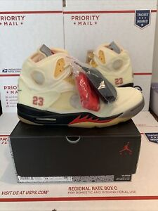 "Nike Off White X Air Jordan 5 Retro ""Sail"" Deadstock Size 14 Ivory AUTHENTIC"