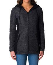 New RIP CURL Women Penelope Longline Fleece Hoody Zip Jacket Black SZ 8 10 12