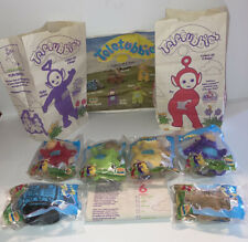 Burger King Teletubbies Clip on Beanbag Finger Puppets Complete Set + Bags