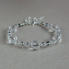 Clear grey crystals beaded bracelet wedding bridesmaid bridal accessory