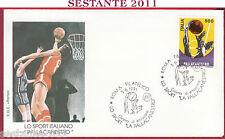 ITALIA FDC ROMA SPORT ITALIANO PALLACANESTRO 1991 ANNULLO ROMA FILATELICO T855