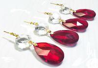 5 Dark Red Teardrop Chandelier Crystals, 38mm Almond Pendant Diamond Cut Octagon