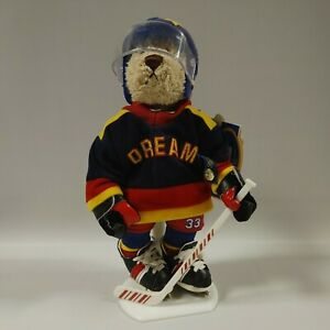 """""""Flash"""" Brass Button Bears Sports Bear Hockey Player 12"""" With Stand Plush"""