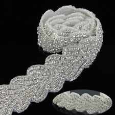 Silver Bead Wedding Crystal Rhinestone Trim Chain Sewing Applique for Sash Belt