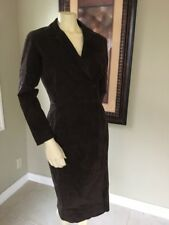 Margaret Godfrey jacket coat long SZ 6 Genuine Suede Leather BROWN WESTERN
