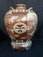 "Large Vintage Satsuma Porcelain Vase on Stand-17 1/2 "" Tall x 13 "" Wide"