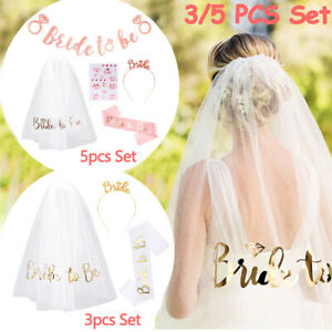 5PCS BRIDE TO BE Veil On Comb Tiara Sash Banner Hen Party Night Wedding Tattoo