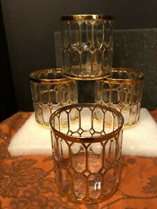 4 Vtg Imperial Glass Sortijas De Oro Spanish Windows Rocks Cocktail Glasses VG