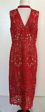 WAYNE COOPER EVENTS Red Lace Dress  with Beige Lining Size 12